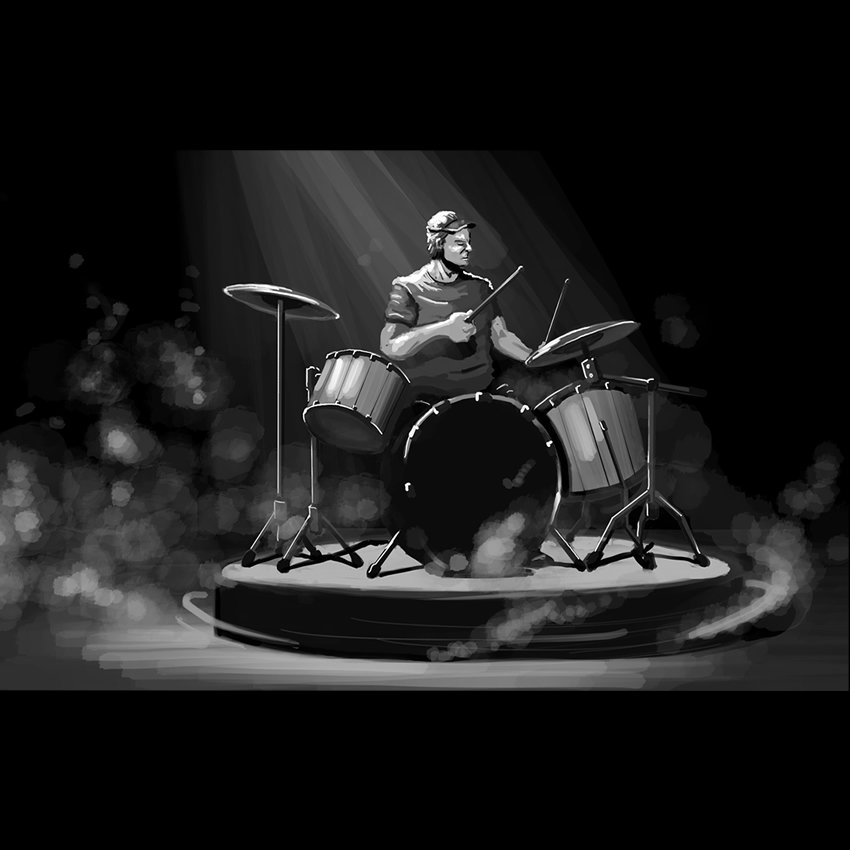 Concept Art: Drummer on 4' Turntable