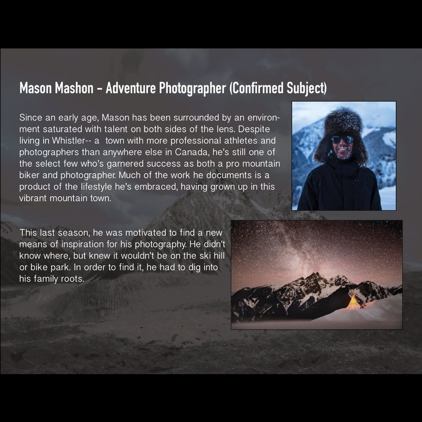 Mason Mashon - Adventure Photographer