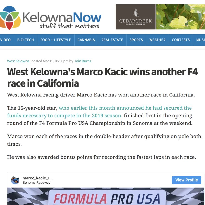 Marco makes headlines in Kelowna