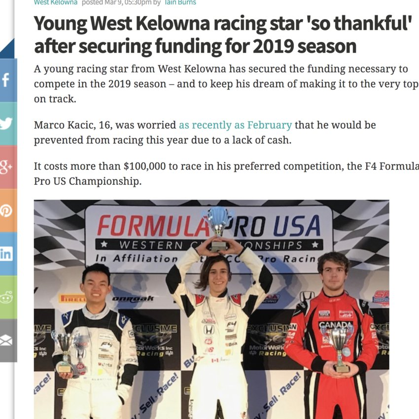 Young West Kelowna star is 'so thankful'
